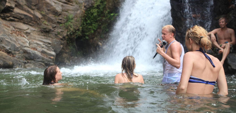 Bath in the Ravana Falls in Ella